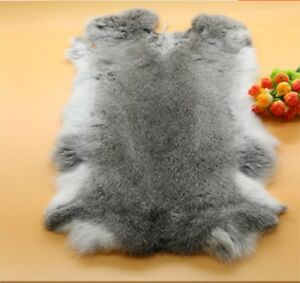 Genuine Naturally Rabbit fur skin Rose Red Leather Hides craft Gray Pelt Fashion