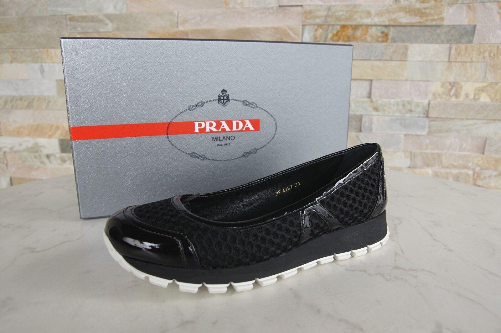 Prada talla 35 35 35 bailarinas Slipper zapato bajo 3f6157 zapatos negro nuevo ex PVP  clásico atemporal
