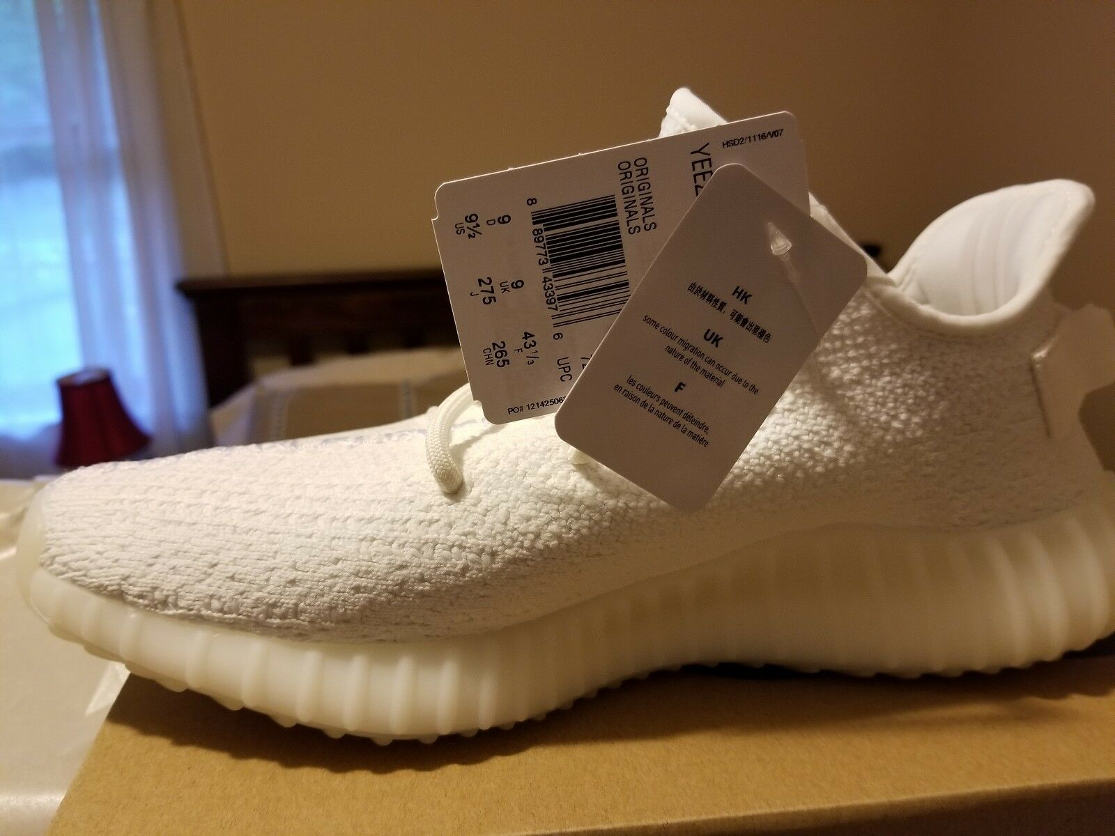 Adidas Yeezy Boost 350 V2 Triple White US SZ 9.5 - IN HAND - FAST SHIPPING