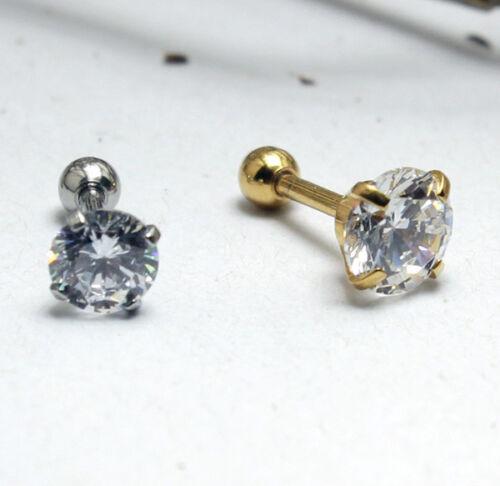 1 pares piercing oreja pendientes Helix Tragus oreja circonita piercing acero inoxidable