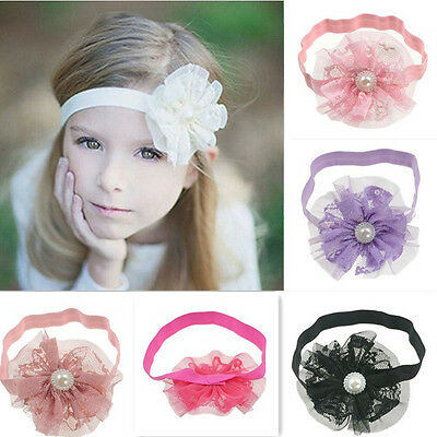 6Pcs Wholesale Baby Girls Infant Toddler Lace Flower Button Headband Hair Band