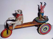 Antique Fischer POLAR BEAR DRIVING CIRCUS CLOWN tin wind up toy 1920's GERMANy