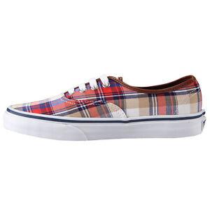 f88dc114b0064c Vans Authentic Plaid Red Blue VN-0SCQ708 Mens Size 9.5 Skate Shoes ...