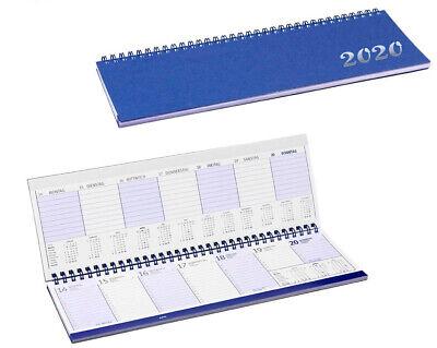 Querkalender Tischkalender Schreibtischkalender 2020-1 Woche//1 Seite blau