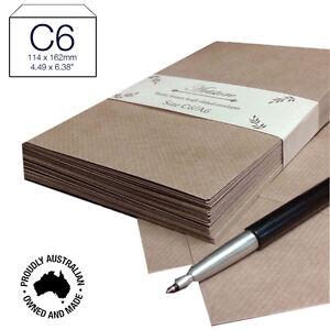50 X C6 Premium Brown Ribbed Kraft Envelopes Peel N Seal Invitation DIY- A Grade