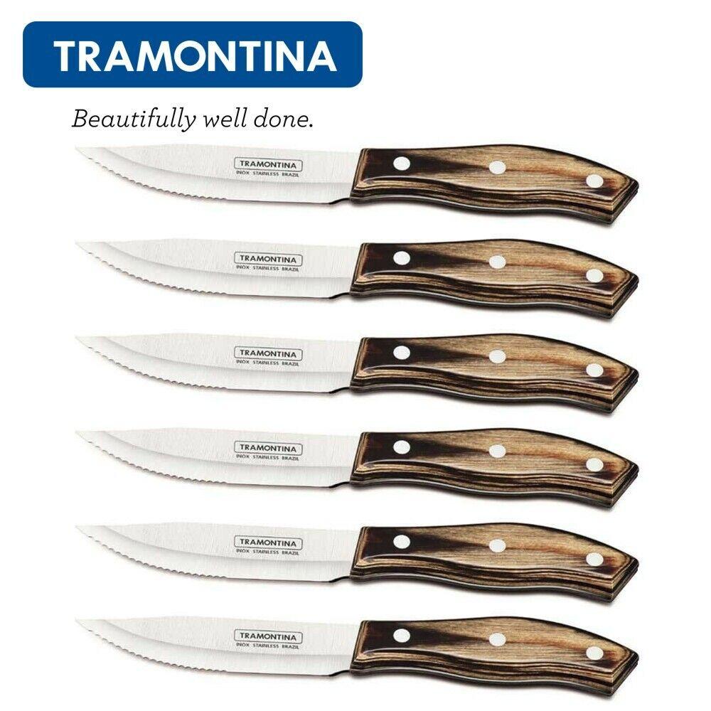 TRAMONTINA Churrasco 5  Jumbo Porterhouse Steak Knife Set de 6pcs. incurvée