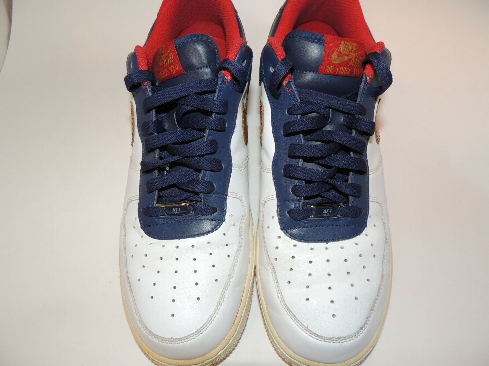 Men Nike Air Force XXXV AF-1 82 Size 13 White bluee &  gold