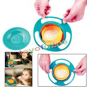 Non-Spill-Feeding-Toddler-Gyro-Bowl-360-Rotating-Baby-Kids-Avoid-Food-Spilling