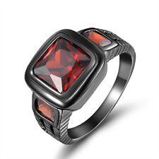 Fashion Size 11 Nobby Red Garnet 10K Gold Filled Engagement Women's Men's Ring