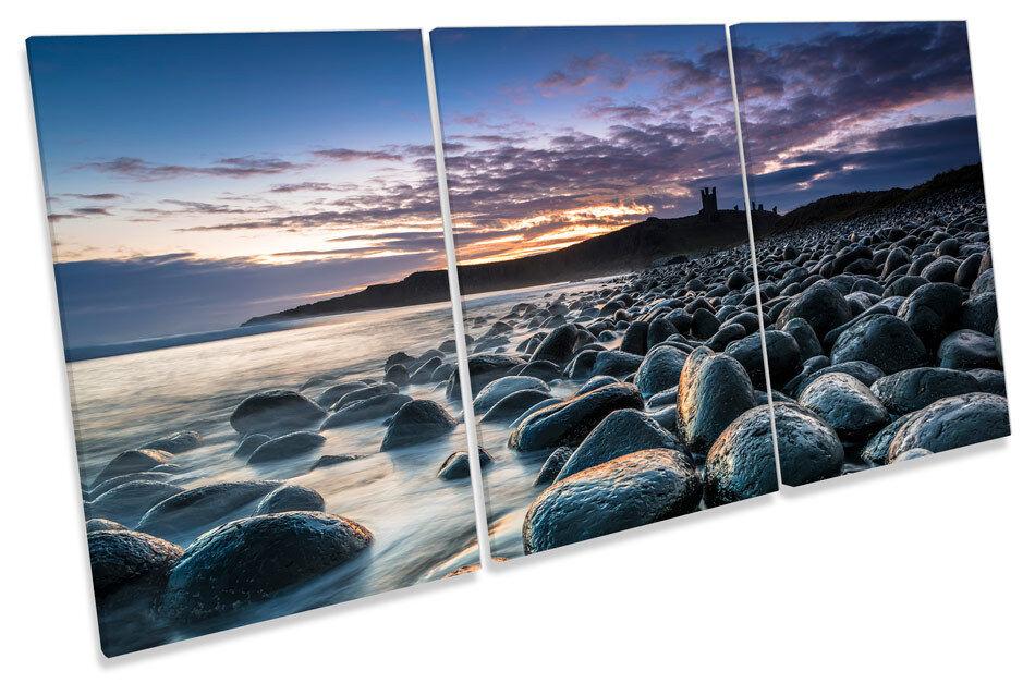 Dunstanburgh Dunstanburgh Dunstanburgh Castle Sunset TREBLE CANVAS WALL ART Picture Print ca74b8