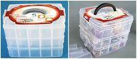 3 Layer Plastic Box Case Storage Container 18 Compartments Craft Bead Organizer