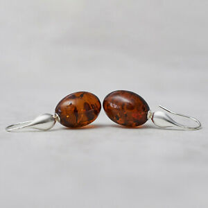 Long Amber Earrings Oval Silver Amber Earrings Baltic Amber Statement Earrings