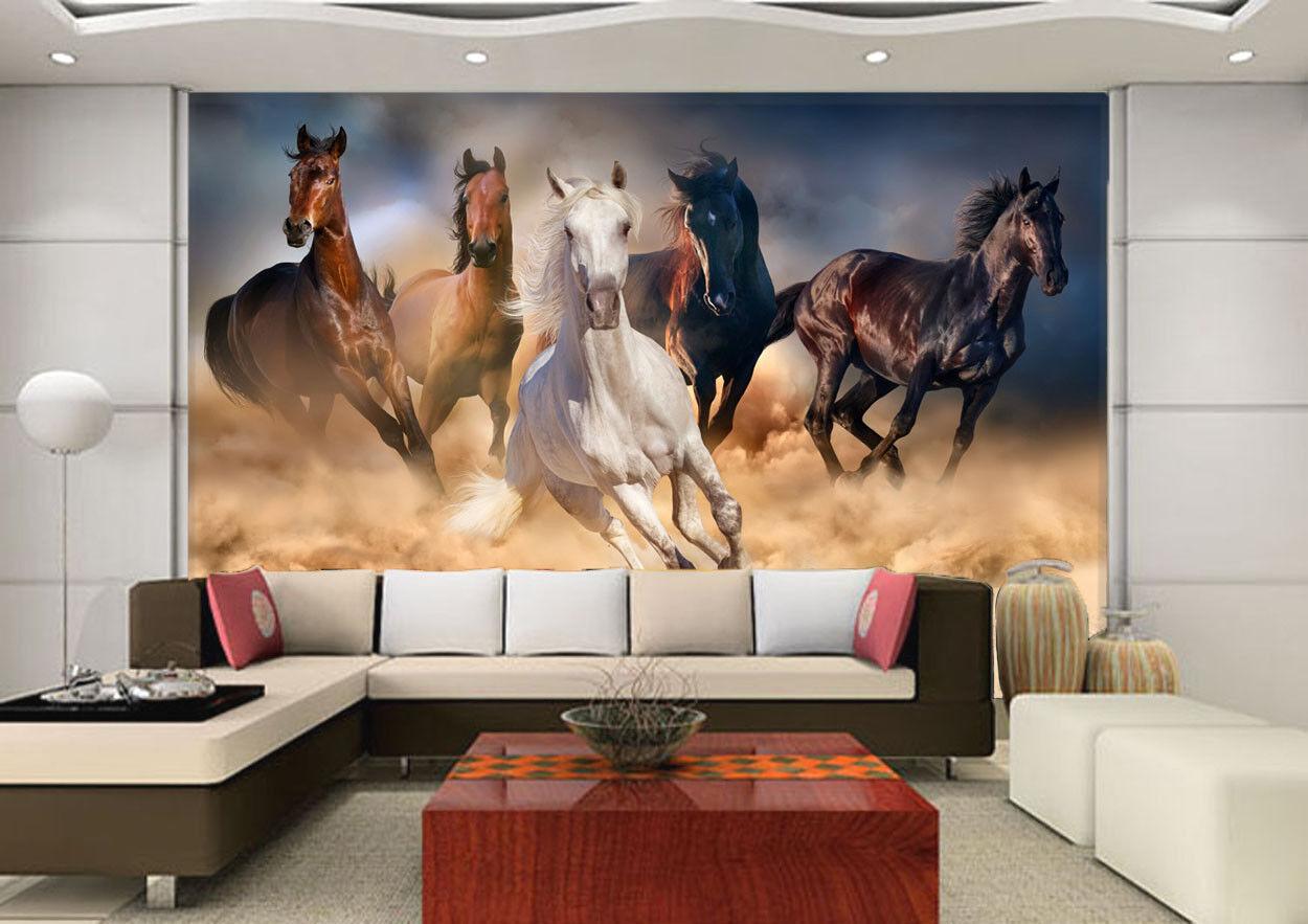 3D Sand Dust Horses 7 Wall Paper Murals Wall Print Wall Wallpaper Mural AU Kyra