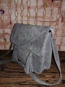 abecb80ae1 Vintage Saint Laurent Rive Gauche Grey Suede Leather Handbag Braided ...