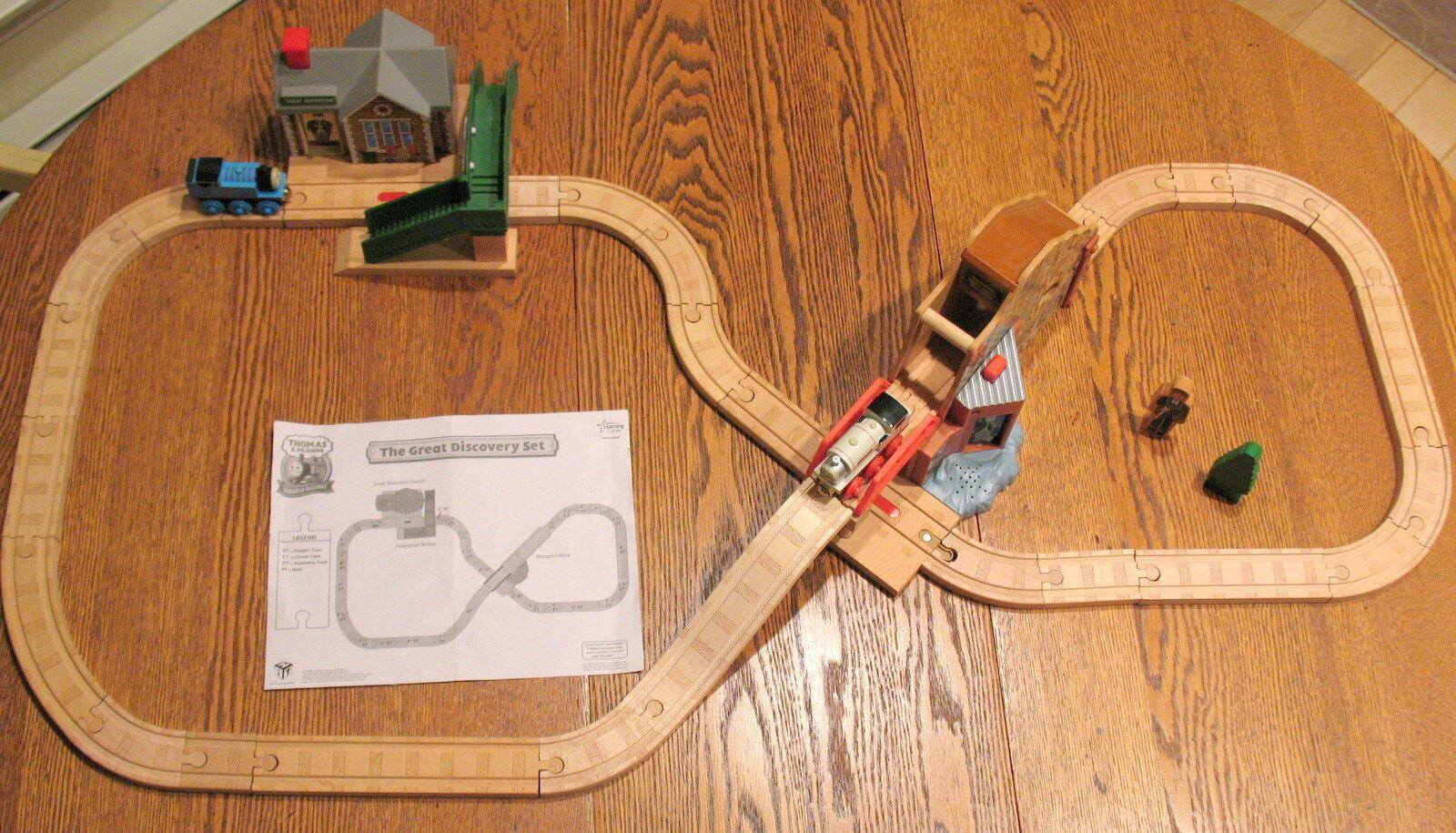 Conjunto, Thomas THE GREAT DISCOVERY Wooden Railway learnng Curve 2008 Usado En Excelente Condición