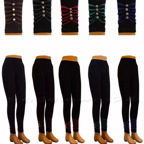 Sale Leggings mit bunten Streifen und Strassknöpfen Leggins bunte Legging Hose