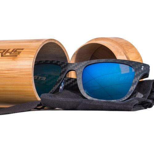 Carbon Fibre Sunglasses GT3 Polarised Lenses Mens Womens Inc Bamboo Case