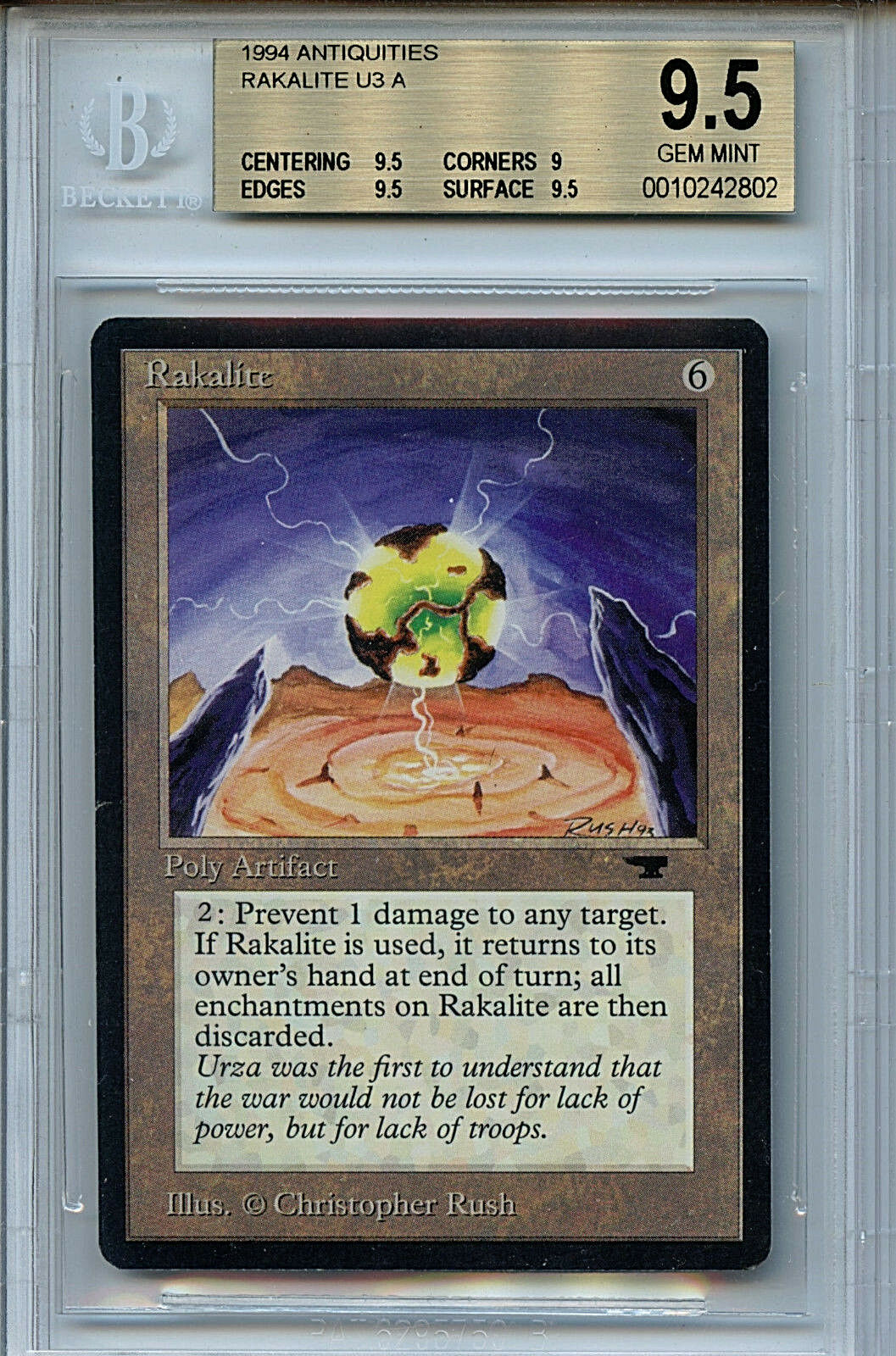 MTG Antiquities Rakalie BGS 9.5 Gem Mint Magic card 2802