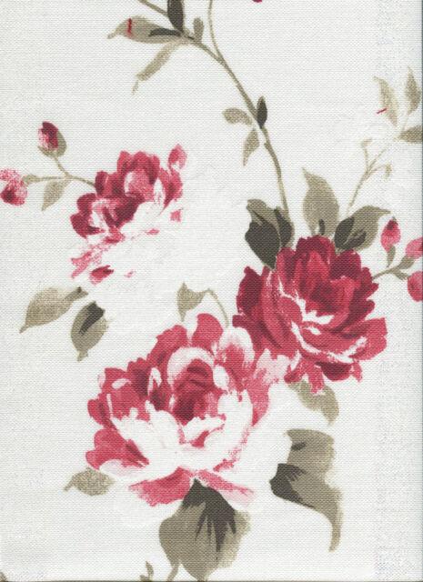 Deko Stoff Landhaus Gardine Vorhang Kissen (Rose) Meterware (Edda)