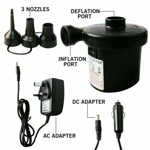 """12V"""" Car Auto AC//DC Car Inflate// Deflation Pumps 3 Nozzles Air Bed Mattress Boat"""