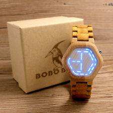 Cool Mens Wooden Bamboo Watches Digital Watch Wood Calendar Wristwatch LED