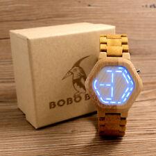 Cool Mens Wooden Bamboo Watches Digital Watch Wood Calendar Wristwatch LED