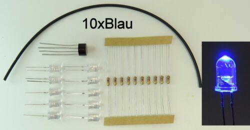 Gleichrichter 10x LED 5mm Klar Schrumpfschlauch C2656 Widerstand 12V