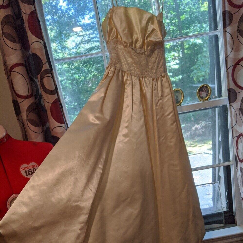 Gunne Sax Dress Ivory Satin Formal Dress S Lace - image 7