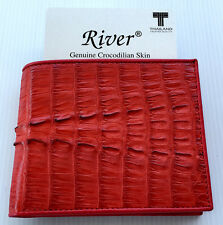 Genuine Real Crocodile Alligator Tail Skin Leather Man Bifold Wallet Red New