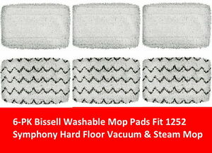 6 Pk Bissell Washable Mop Pads Compatible 1252 Symphony