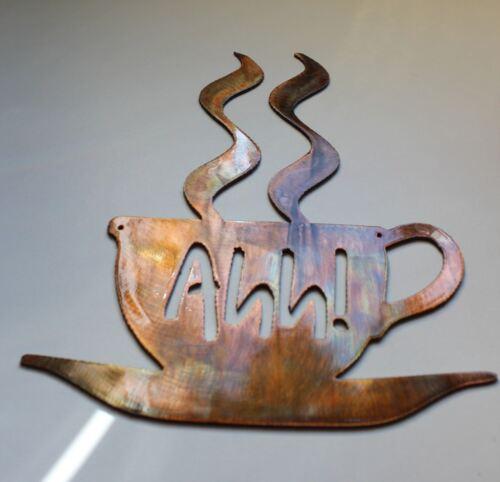 "Coffee Cup Metal Wall Art Decor 7 3//4/"" tall Ahh"