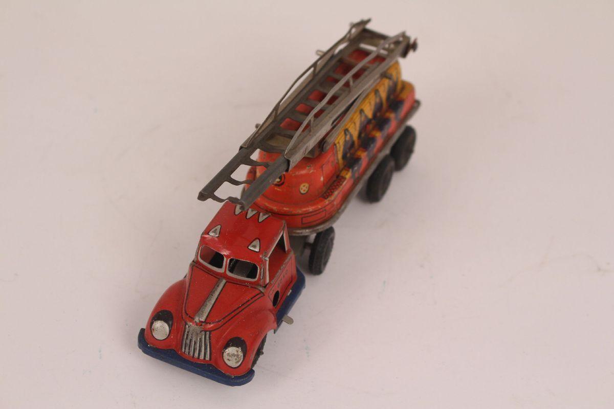 GÖSO 430-15 Feuerwehr Auto Leiterwagen US Zone Germany Blechspielzeug