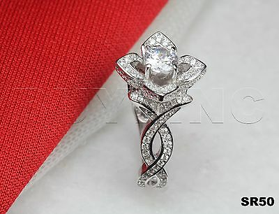 Sterling Silver 925 Womens Flower Round Cut Engagement Bridal 1.51Ct Ring