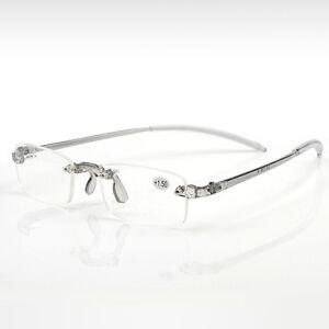 Frameless-Clear-Grey-Lesehilfe-Vision-Brille-1-00-4-00-Dioptrien-P9K6
