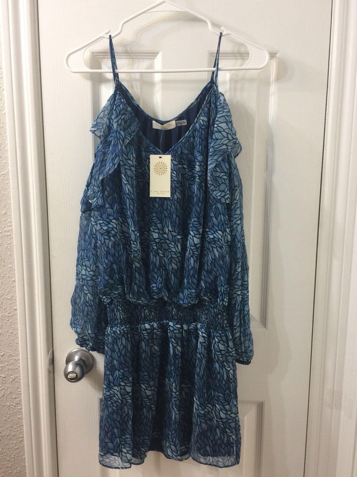 Ramy brook Blau Cold Shoulder Kleid Sz M