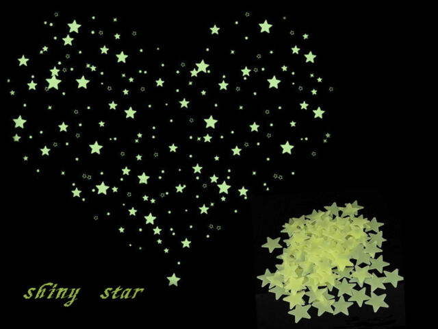 New Magical Romantic Ceiling Wall Window Stickers Glow In The Dark Stars 100pcs