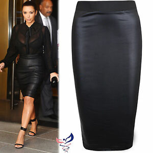 WOMENS WET LOOK FAUX LEATHER PENCIL WIGGLE BODYCON HIGH WAISTED ...