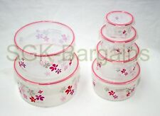 Set of 6 Microwaveable Lock & Fresh Air Tight Food Storage Box Container PINK