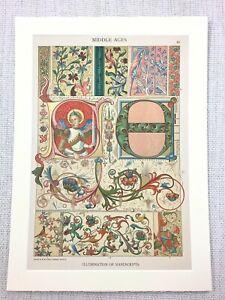 1883 Antique Print Medieval German Illuminated Manuscript Cologne Cathedral Art
