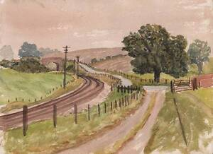 RAILWAY-LINE-IN-LANDSCAPE-Watercolour-Painting-c1970-IMPRESSIONIST