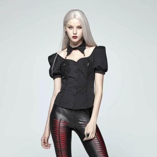 Rave Gothic Vampir Top Kurzarm Punk Viktorianisch Vampyre Schwarz Bluse Damen SUzqMGVp