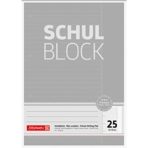 Schulblock BRUNNEN Premium 10-52625-BR A4 Lin 25 mit Rand Liniert Premium 50 Bla