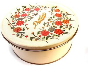 DeLuxe Fruitcake Collectible Tin from Collin Street Bakery Embroidered Floral