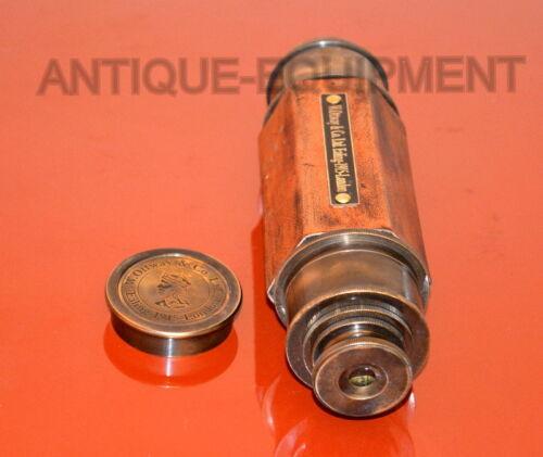 "Vintage brass maritime telescope 25/"" w.ottway hexagon shape spyglass scope gift"