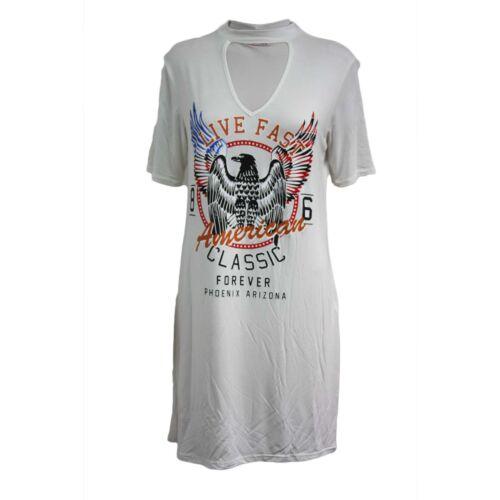 Ladies Womens Choker V Neck Slogan Print Top Longline T Shirt PJ Dress UK 8-14