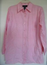 WOMEN  DENIM & CO PINK EMBROIDERED  BUTTON UP LNG SLEEVE TOP SHIRT  SZ  S