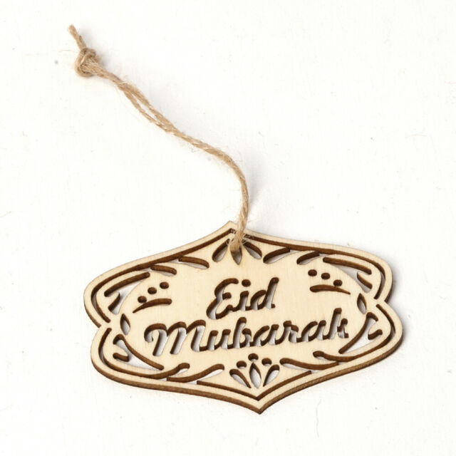 10pcs Hollow Hanging Pendant Laser Cut Wooden Ramadan Decoration Eid Mubarak