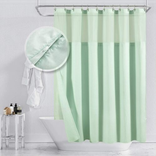 """75/"""" Long M Barossa Design Hotel Style Shower Curtain with Snap-in Fabric Liner"""