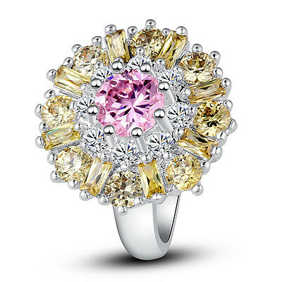Flower Gift Pink White Topaz Citrine Jewelry Women Silver Ring Sz 7 8 9 10 11 12