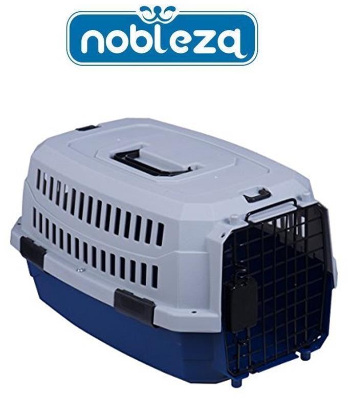 Transportin para peros gatos mascotas NOBLEZA 58x39x33cm rigida puerta metalica